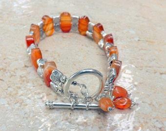 Carnelian Bracelet, Carnelian  Bangle Handmade by Lyrisgems
