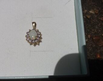 Stunning Colors Estate 10K Yellow Gold Australian Opal Tanzanite Ladies Flower Pendant Shop or Layaway 4 Birthdays Christmas Now