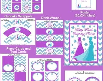 Ice Princess Party - Girls Princess Birthday Party - PRINTABLE Personalized Party Package - Aqua and Purple - Glitter