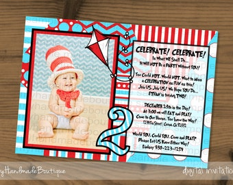 ... birthday invitat ion 2nd second dr seuss birthday party theme cat