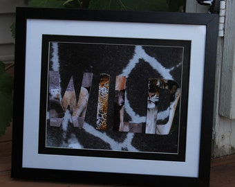 """3D effect photo, abstract art, """"Wild"""" spelled out with animals"""