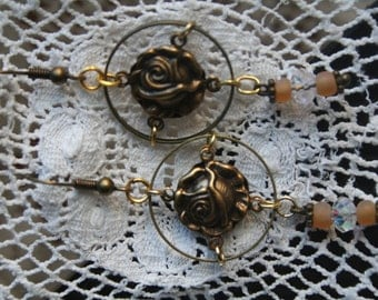 SUSPENDED ROSE - Pretty  antique gold  earrings
