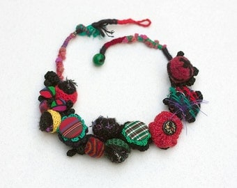 Colorful statement fiber necklace, crochet, felt, handwoven, fabric buttons, OOAK