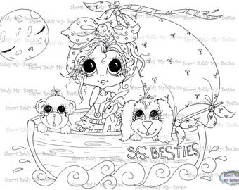 INSTANT DOWNLOAD You Get 2 Besties Digital Digi Stamps Big Eye Big Head Dolls Digi Sail Away IMG275By Sherri Baldy