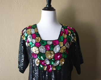 Vintage Multicolored Sequined Silk Blouse