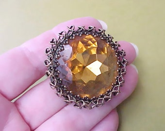 """Beautiful Vintage Brooch with Huge Topaz Colored """"Jewel"""" in Renaissance Style Setting"""