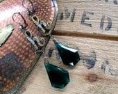 RESERVED FOR JUDY1920s Czech Glass Earrings Boho Art Deco Jewelry / Letter H Emerald Bohemia Geometric Glass Dangle & Rhinestones / Genuine