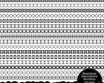 Seamless Decorative Borders - Clip Art Set for Cards, Stationary, Invitations, Paper Crafts by Nahhan73 (BO-002)