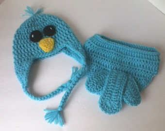 Bluebird Baby Hat & Diaper Cover Set - Photo Prop - Newborn through 12 Months