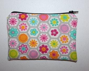 Reusable ZIPPER Snack Bag, Flowers - Zipper Snack Bag / Girls Reusable Snack Bag / Reusable Bag / Going Green