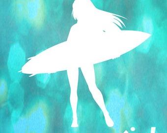 Surfer Girl Art Print - Aqua Bokeh Quote Surfing Ocean Girl Room Decor Wall Art Photograph