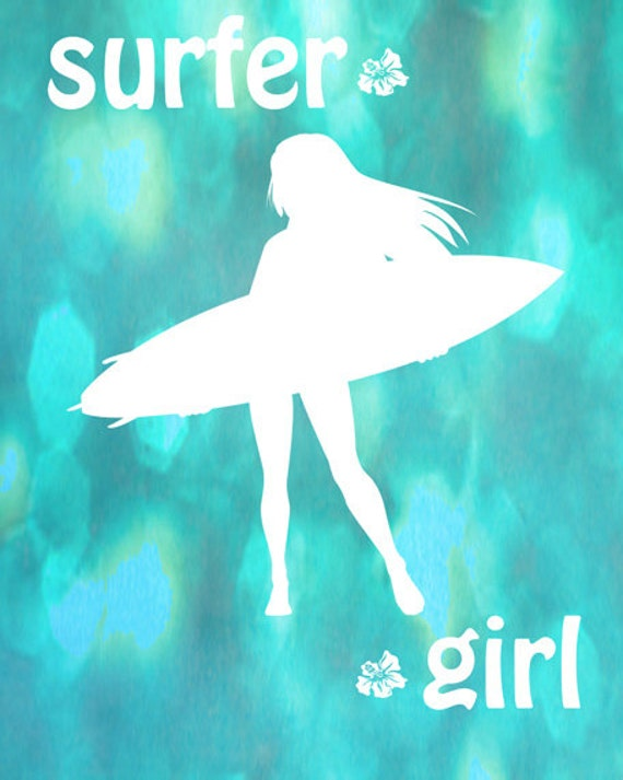 Surfer Girl Art Print - Aqua Bokeh Quote Surfing Ocean Girl Room Decor Wall Art Photograph