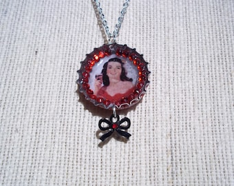 Real Coke Bottle Cap Red Rhinestone Valentine Necklace One Of A Kind