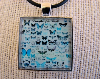 Photo Jewelry, Resin Pendant, Butterflys, Blue, Black, White, Blue, White, 1 inch, Square, For Her