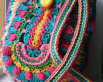 Crochet pattern, crochet bag pattern, crochet color bag pattern, granny crochet bag pattern 166 Instant Download