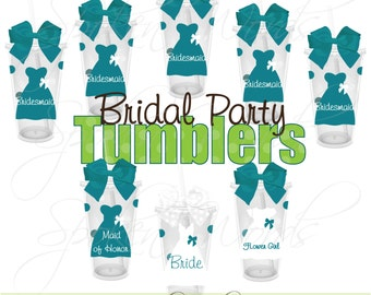 Set of 10 Bridal Party Gifts Wedding Party Gifts Personalized 16 oz. Acrylic Tumblers