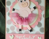 Custom Order for Erin - Dancing Pig - Handmade Card
