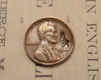 Lincoln Wheat Cent Penny With Masonic Counterstrike - Free Mason Compass - 1930s 1940s 1950s - LIMITED Quantities