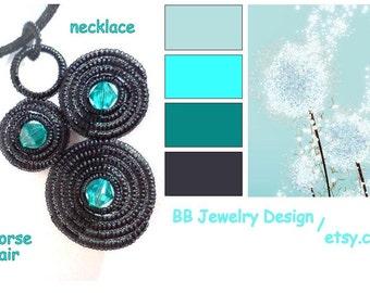 Necklace-black HORSE HAIR and swarovski crystal-natural elegance