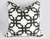 Decorative Pillow Cushion Cover - Accent Pillow - Throw Pillow - Waverly - Groovy Grill Licorice, Fretwork - Black, Off White