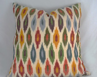 Schumacher - Decorative  Pillow Cushion Cover - Accent Pillow - Throw Pillow - Sunara Ikat - Orange, Spice, Muti