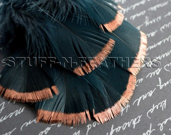 COPPER DIPPED Black feathers, metallic copper hand painted turkey feathers loose millinery crafts / 3-5 in (7.5-12.5cm) long, 6 pcs/ F115-3C