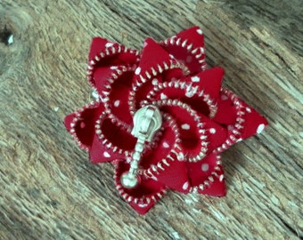Gift for her, zipper brooch, red and white, hand painted, polka dot ,  Zipper Pin. 2.8 in/ 7 cm,eco friendly, recycled jewelry