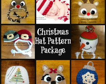 Holiday Hats - Crochet Pattern Collection 203 - Christmas Ornament, Christmas Tree, Rudolph Reindeer, Santa and Elf, Long Tail Elf, Snowman