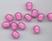 Twelve very cool vintage lucite beads - like furnace glass - pink and purple stripes - 14.3 x 12 mm