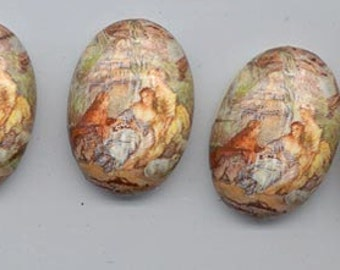 Four very cool vintage flat-backed lucite cabochons - peach, rust, muted light green 17th century scene - 24.7 x 17.5 mm