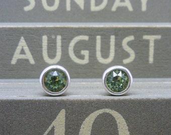 Silver Birthstone Ear Studs - August Solid Sterling Silver 925 Peridot Green Swarovski Crystal Earrings