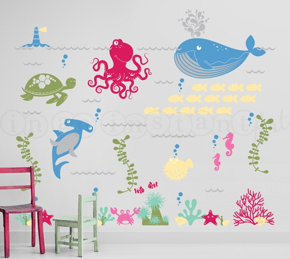 Delightful Ocean Friends Wall Decal, Under The Sea Wall Decal, Octopus, Whale, Shark,  Sea Turtle Wall Decals For Nursery, Kids Or Childrens Room 063 Part 9