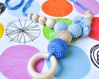 SALE 20%-Blue Nursing Necklace/Teething Necklace with wooden ring by SimplyaCircle-Breastfeeding Necklace-Eco-Friendly-Mother's day