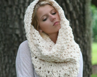 Extra Chunky Cowl Scarf / THE CINCAR / Textured Big Circle Scarf Crochet Oversized Shawl Hood Fisherman