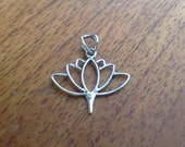 925 Sterling Silver Lotus Charm with Bail