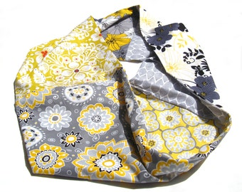 Love me TWO TIMES fabric cowl - double-sided, infinity, fabric, printed, floral, patterns, mustard, yellow, grey, black, white