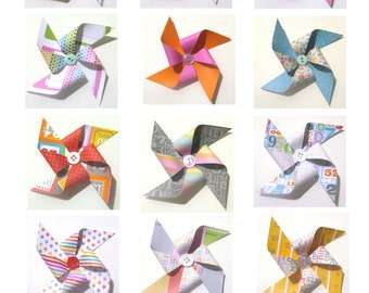 Paper Pinwheels - NOTED Themed SET of 12 (Great for Cupcake Toppers or Pinwheel Bouquet)