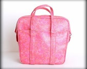 Vintage LG Samsonite Marbled Bubble Gum Pink  Silhouette Soft Side Overnight Bag