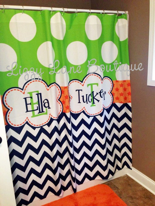 custom personalized monogrammed shower curtain free shipping