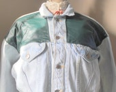 Vintage Jean Jacket Acid Washed Denim with Leather Detail  Large SALE