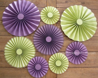 Set of 8 Rosettes, Paper Fans, Pinwheel Backdrop Decor, Paper Rosettes, Candy Buffet Decorations, You choose your colors and pattern