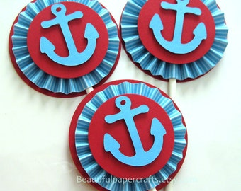 Nautical Baby Shower, Anchor Cupcake Toppers, Paper Fans, Nautical 1st Birthday Party Decor, Choose your colors...Set of 12