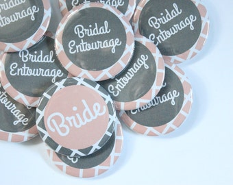Set of 10 Modern Bridesmaid Buttons- CUSTOMIZABLE