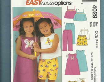 McCalls 4029 Modern Summer Time Play Clothes for Girls Sizes 3 to 6  UNCUT