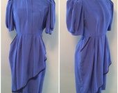 Vintage 80s Womens Blue Secretary Day Dress Short Sleeve by Fredericks of Hollywood size Medium