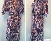 Vintage 80s Womens Blue Floral Print Short Sleeve Shirt Waist Dress with Breast Pockets size Large