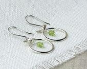 Petit Zen Silver Peridot Gemstone Hoops, Modern Silver Gemstone Earrings, Hammered Minimalist Silver Earrings Item E500