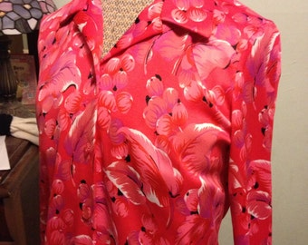 Great Vintage 70s Graff Blouse with Floral Print Reds and Pinks So Sweet