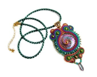 HALF PRICE ! SALE ! Soutache pendant very elegant, eyecatching and shinny - Czech Treasures - Multicolor