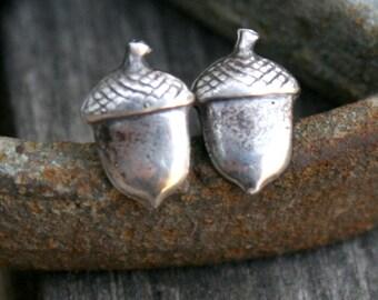 Sterling Silver Post Earrings - Acorns